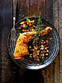 Roast chicken leg with Mediterranean vegetables