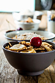 Healthy cereals with fruit, yogurt and seeds