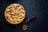 Apple pie with lattice decoration on dark background