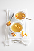 Beef consomme with pastry stars