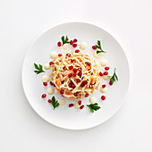 Coleslaw with pomegranate seeds