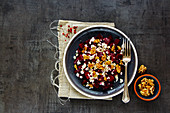 Roasted beetroot salad with walnut and feta cheese