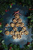 Homemade mince pies with crumble and pecan nut topping