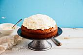 Homemade three milk cake with coconut and mascarpone cream