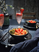 Thai curry with fish and strawberries