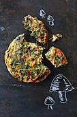 Wild mushrooms, prawns and coriander frittata