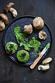 Porcini mushroom rolls with wild garlic buter