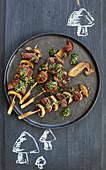 Beef and mushroom skewers with chimichurri