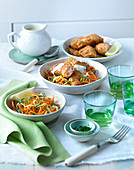 Fried salmon with vegetable noodles