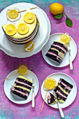 Chocolate naked cake with pink and yellow cream, decorated with candy with slices of lemons