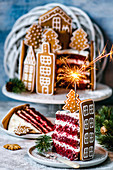 Cake Red velvet decorated with gingerbread houses