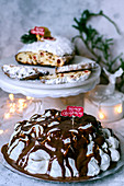 Christmas party with cake and Stollen