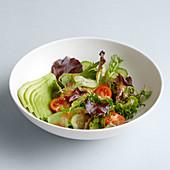 Gemischter Salat mit Gurken und Tomaten in Salatschale vor weißem Hintergrund