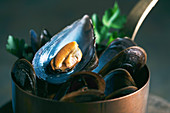 Cooked mussels in a copper saucepan (close-up)