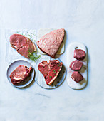 Sirloin Steak, Picanha Steak, Fillet, T-Bone-Steak and Rib-Eye-Steak