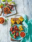 Boerie and corn bites with chakalaka and Korean beef bulgogi with kimchi