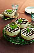 Small mint chocolate cheesecakes