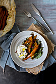 Roasted carrots with labneh