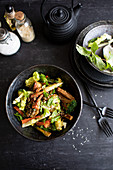 Roasted root vegetable salad with sesame seeds