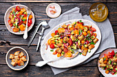 Panzanella with avocado, tomatoes and capers