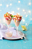 Shrimp coctail with avocado and pomegranate seeds