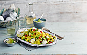 Pilaf with saffron, beans and eggs