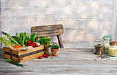 A vegetable box on a wooden table