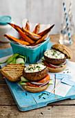 Portobello mushroom burgers with sweet potato fritters