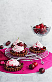 Chocolate and cherry crispy tarts