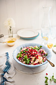 Crunchy red and white cabbage salad with apple, pomegranate, coriander and cider honey vinaigrette