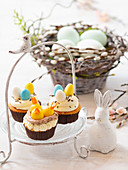 Easter cupcakes on cake stand