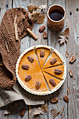 Autumnal pumpkin and pecan pie