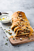 Vegetable strudel with goat's cheese and nuts