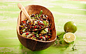 Lentil salad from Cameroon with beluga lentils, lime, peppers and cumin