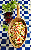 Tabbouleh with tomatoes, cucumbers and mint