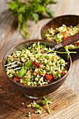Vegan bulgur salad with parsley and mint