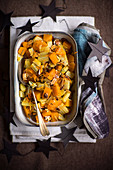 Cardy pumpkin and veg with spicy almonds