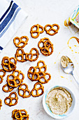 Spicy pretzels with mustard butter