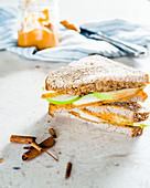 Sandwiches with apple slices and sweet potato butter