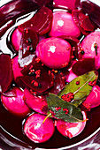 Pickled eggs with beetroot (top view)