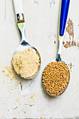 Mustard flour and mustard seeds on spoons (ingredients for sweet mustard)