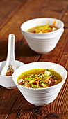 Asian soup with tofu and vegetables