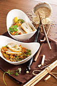 Asian style quinoa with chicken breast and vegetables