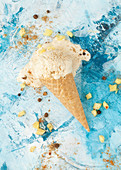 A Melting Cone of Pineapple Ice Cream
