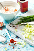 Ingredients for a Spring Onion and Chive Dip