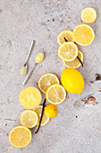 Whole Sliced Lemons with Vanilla and Lemon Curd