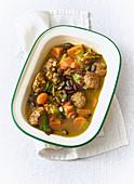 Autumnal meatball and pumpkin stew