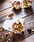 Popcorn breakfast bar with almonds, cranberries and almond butter