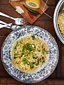 Tagliatelle with lemon sauce and spring onions
