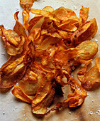 Homemade potato crisps (seen from above)